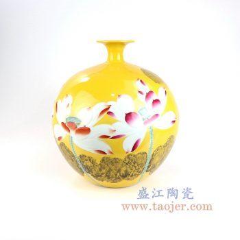 RZNP03_景德镇陶瓷 名人大师手绘香远益清石榴瓶 工艺品家居摆件收藏佳品