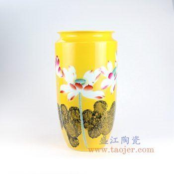 RZNP04_景德镇陶瓷 名家手绘黄色荷花瓶插花器新中式家居客厅酒店装饰摆件