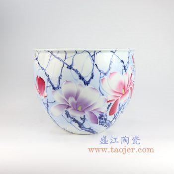 RZNP06_景德镇陶瓷 手绘青花斗彩雕刻花朵鱼缸花盆