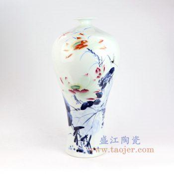 RZNP07景德镇陶瓷 手绘青花斗彩荷韵梅瓶家居摆件