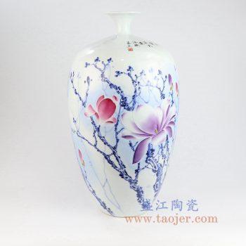 RZNP08_景德镇陶瓷 手绘青花斗彩雕刻花朵花插花瓶家居摆件
