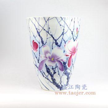 RZNP11_景德镇陶瓷 手绘青花斗彩雕刻花朵花插花瓶家居摆件品