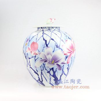 RZNP12_景德镇陶瓷 手绘青花斗彩雕刻花朵带盖储物罐