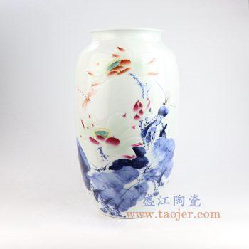 RZNP13_景德镇陶瓷 名人名作大师手绘青花斗彩浮雕花瓶家居装饰工艺品摆