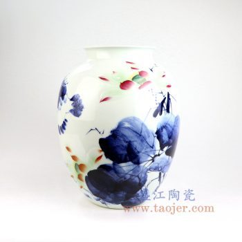 RZNP13_景德镇陶瓷 名家手绘青花斗彩荷花 客厅干花装饰艺术品