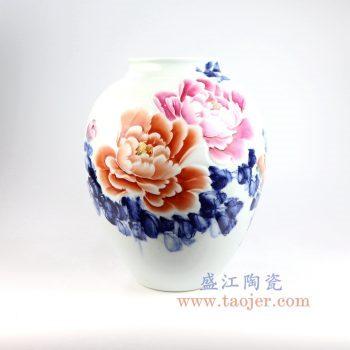 RZNP14_景德镇陶瓷 手绘青花斗彩牡丹花插花瓶