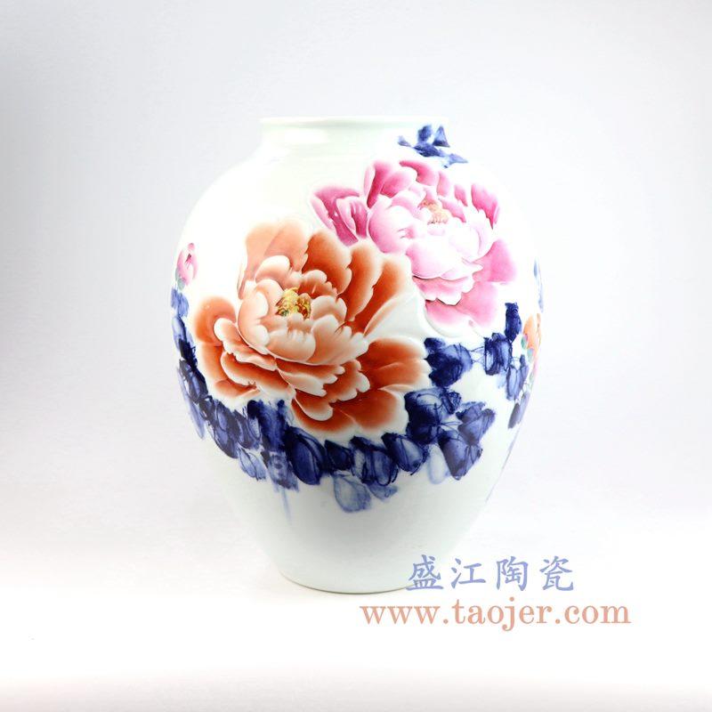 盛江陶瓷 手绘粉彩牡丹花插花瓶