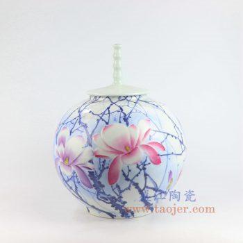 RZNP15_景德镇陶瓷 手绘青花斗彩雕刻花朵带盖储物罐
