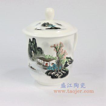 ZPK888-A_景德镇陶瓷 纯手工 山水人家 高白玉瓷办公杯
