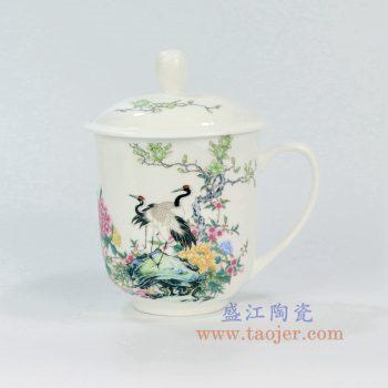 ZPK888-B_景德镇陶瓷 纯手工 花鸟牡丹 高白玉瓷办公杯