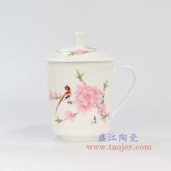 ZPK889-A_景德镇陶瓷 纯手工 水点桃花 高骨瓷办公杯