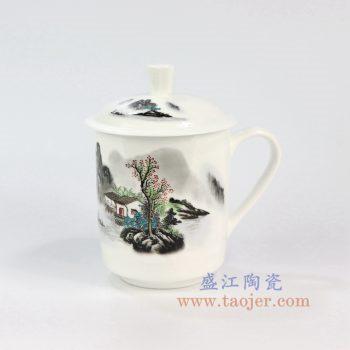 ZPK889-B_景德镇陶瓷 纯手工 山水人家 高骨瓷办公杯
