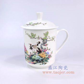 ZPK889-C_景德镇陶瓷 纯手工 花鸟牡丹 高骨瓷办公杯