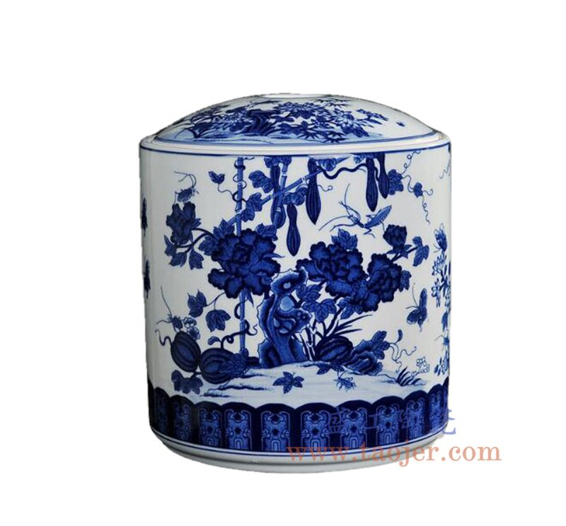 盛江陶瓷 手工青花瓷大号茶叶罐普洱七子饼茶缸 储物罐丝瓜蝴蝶瓜果 茶饼罐