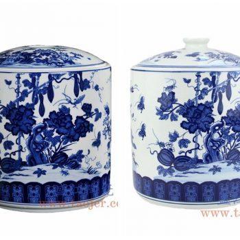 RYAU32-A-B 景德镇陶瓷 手工青花瓷大号茶叶罐普洱七子饼茶缸 储物罐丝瓜蝴蝶瓜果 茶饼罐