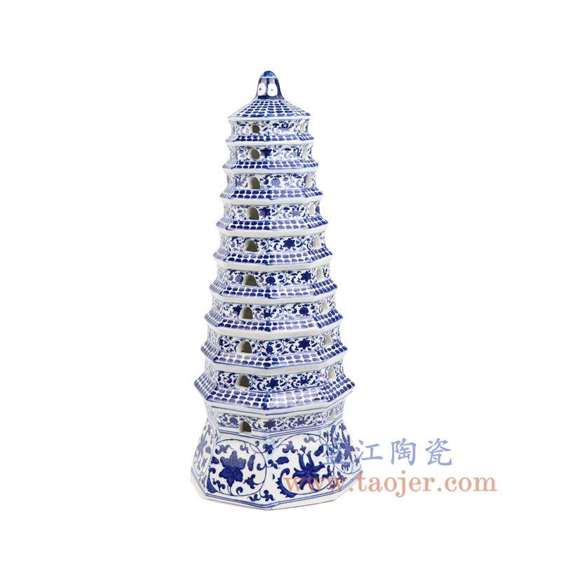 盛江陶瓷 纯手工青花缠枝 鸭蛋清纯白 宝塔 陶瓷塔