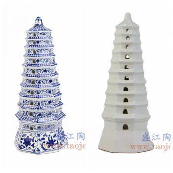 RYJF65-67-景德镇陶瓷 纯手工青花缠枝 鸭蛋清纯白 宝塔 陶瓷塔