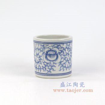 RYLU149_景德镇陶瓷 纯手绘青花缠枝笔筒