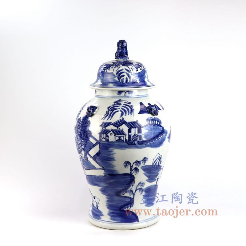 盛江陶瓷 仿古手绘青花山水建筑山水楼阁狮子头将军罐