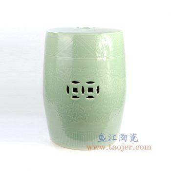 RYMA102_景德镇陶瓷 纯手工青釉颜色釉浮雕铜钱瓷凳凉墩 凳子