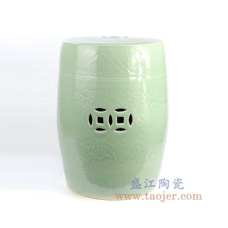 盛江陶瓷 纯手工青釉颜色釉浮雕铜钱瓷凳凉墩 凳子