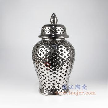 RYZS55_景德镇陶瓷 镂空镀银镂空带盖将军罐储物罐