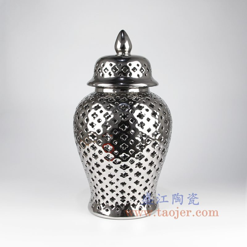 盛江陶瓷 镂空镀银镂空带盖将军罐储物罐