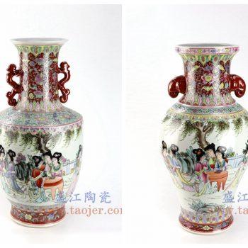 RZAI16-17-景德镇陶瓷 仿古民国厂货手绘粉彩仕女图双耳花瓶