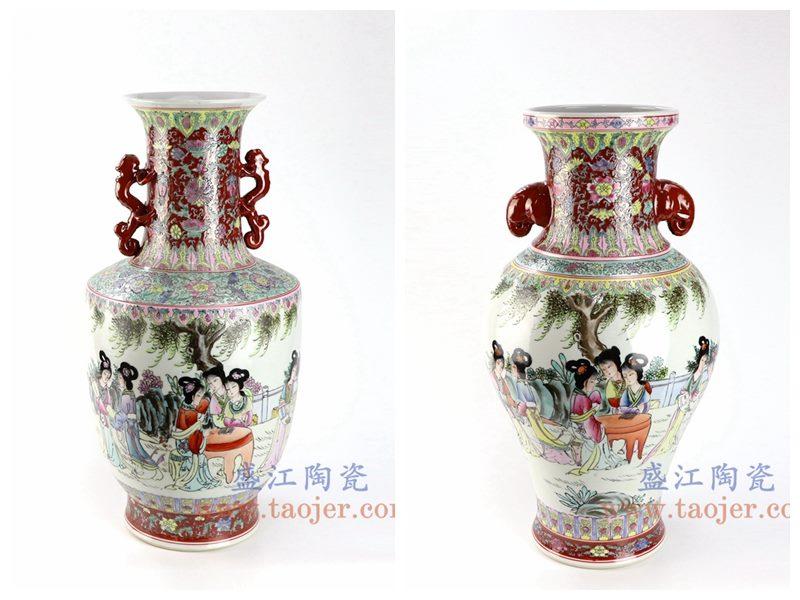 盛江陶瓷 仿古民国厂货手绘粉彩仕女图双耳花瓶