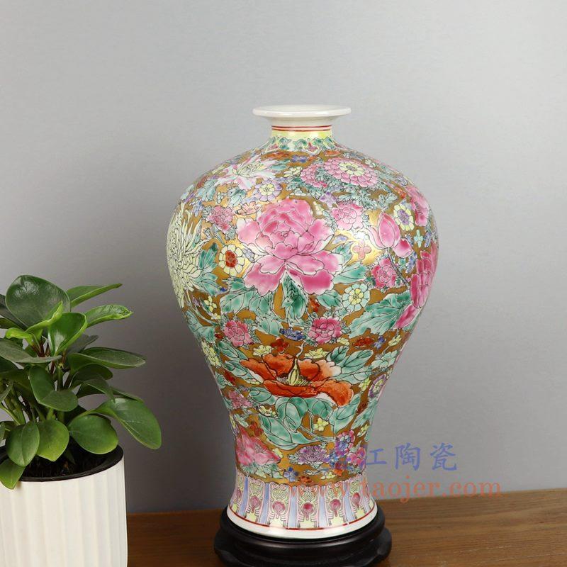 盛江陶瓷 重工民国厂货手绘粉彩万花梅瓶