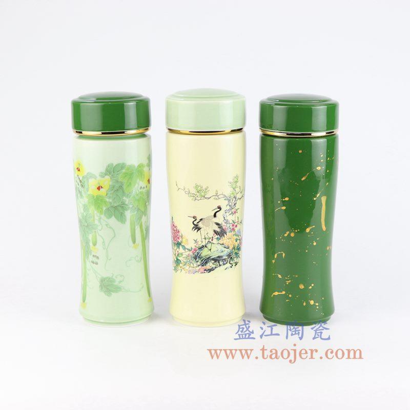 盛江陶瓷 手工釉上彩粉彩双层保温杯