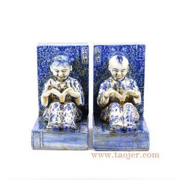 RZKC20_景德镇陶瓷 青花三字经金童玉女书形雕塑 古玩古董仿古瓷器摆件全手工