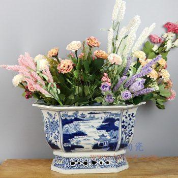 RZKS03-A-景德镇陶瓷 纯手工手绘青花山水四方花盆