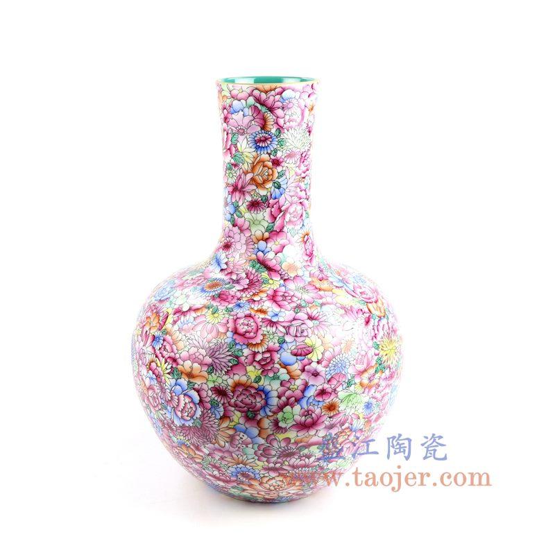 盛江陶瓷 重工粉彩万花天球瓶
