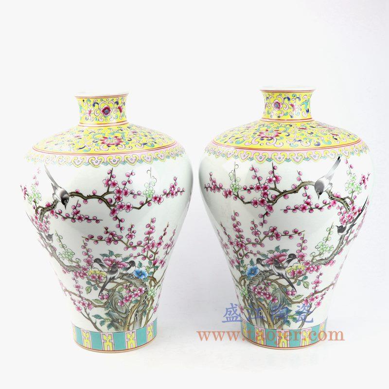 盛江陶瓷 纯手工手绘粉彩喜上眉梢梅瓶 将军罐 花插花瓶