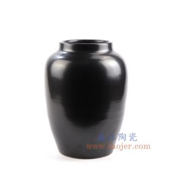 RZNS01_景德镇陶瓷 手工颜色釉黑色陶瓷罐 花瓶