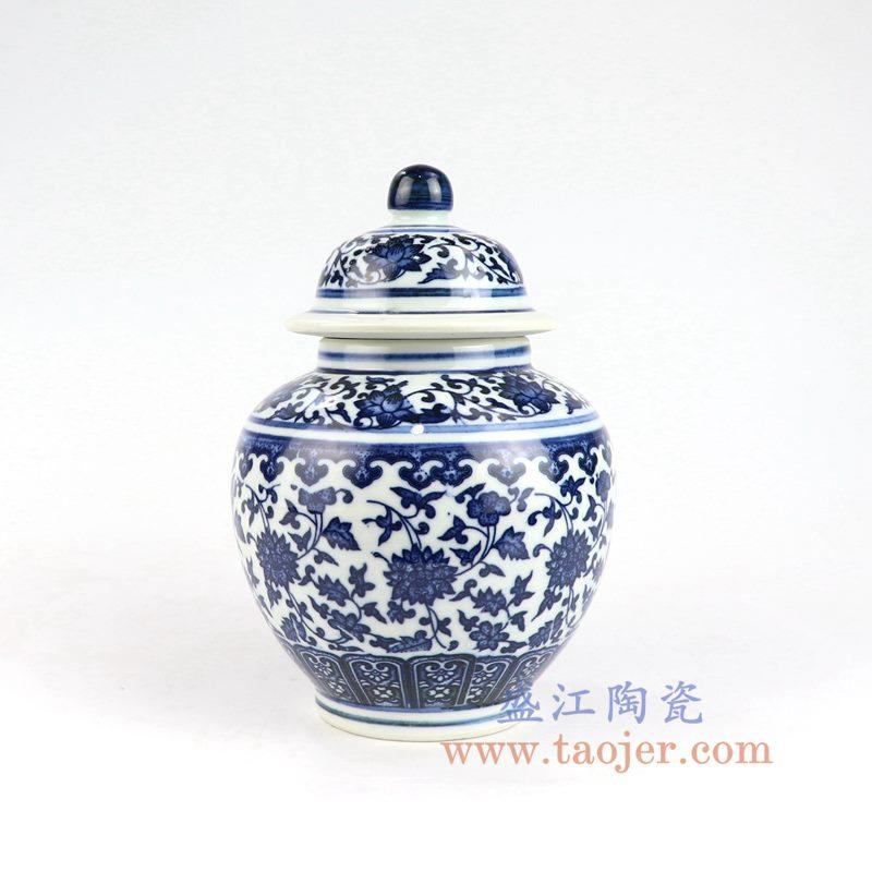 盛江陶瓷 纯手绘青花缠枝莲将军罐盖罐花插花瓶