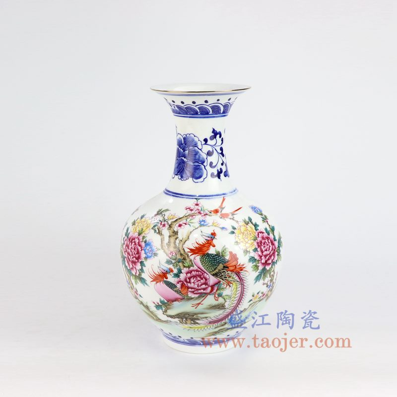 盛江陶瓷 仿清手绘釉上青花斗彩粉彩花鸟山水花瓶