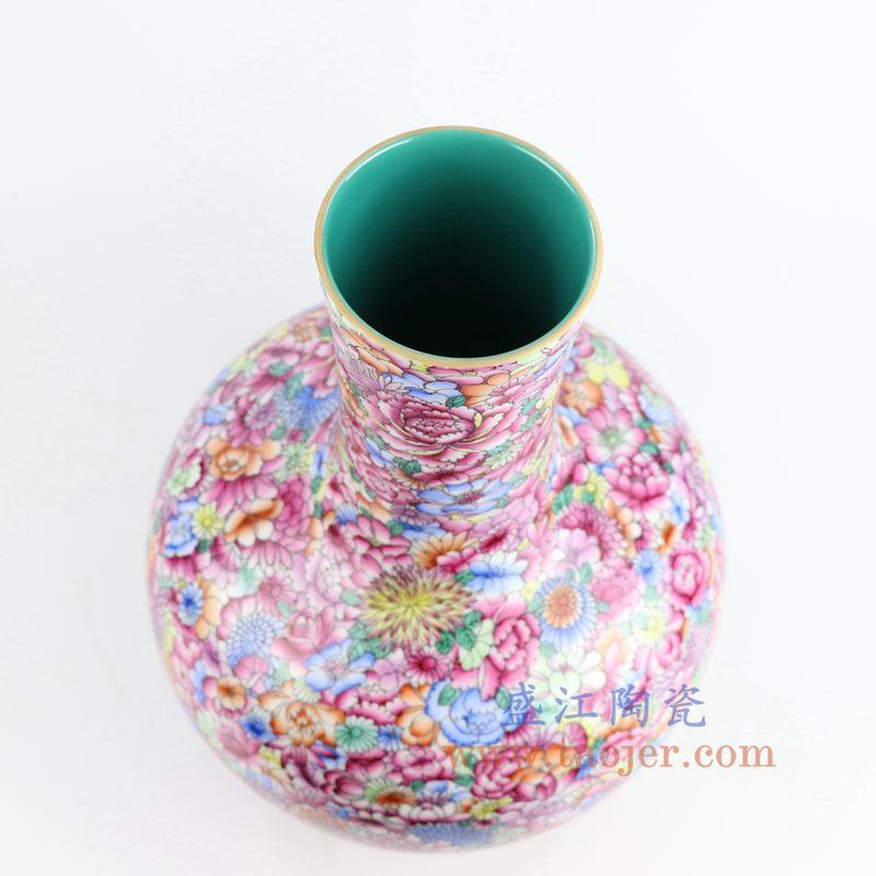 RZLS04_盛江陶瓷 重工粉彩万花天球瓶