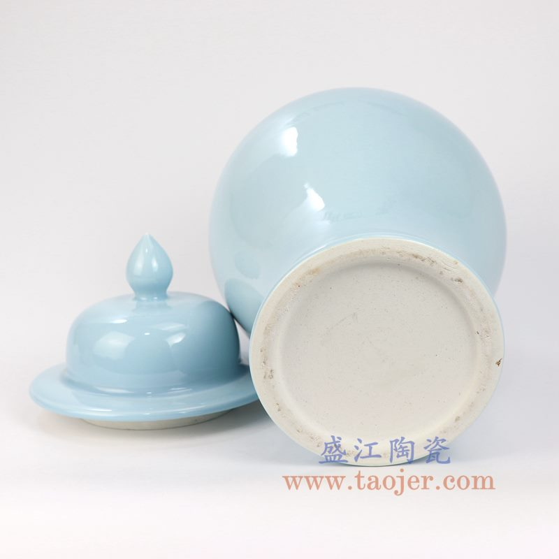 盛江陶瓷 高温瓷 颜色釉 天蓝色将军罐