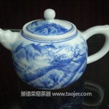 手绘青花茶壶山水