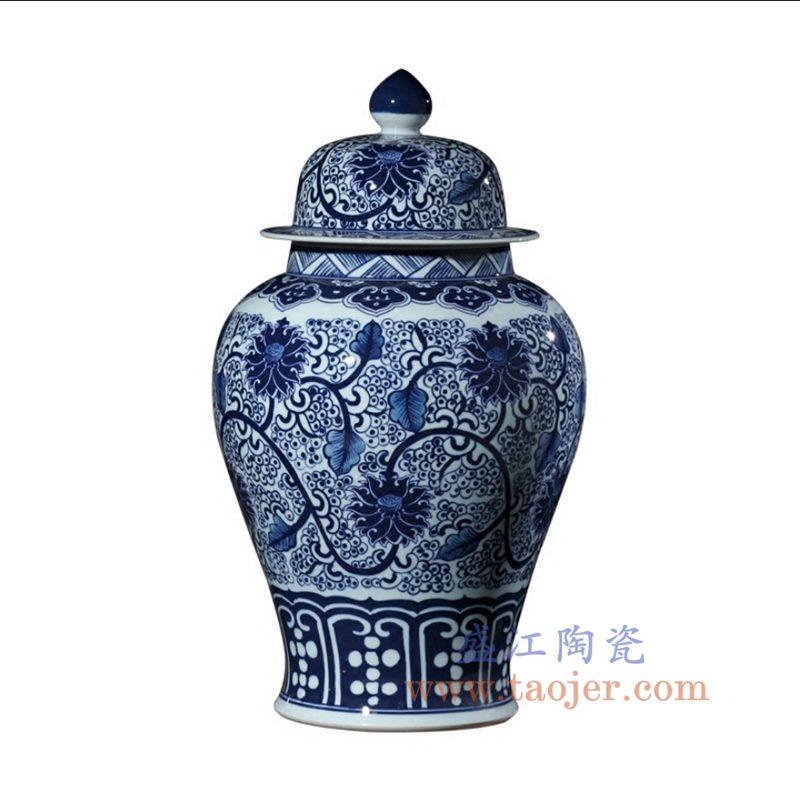 盛江陶瓷 仿古手绘青花釉里红缠枝莲将军罐