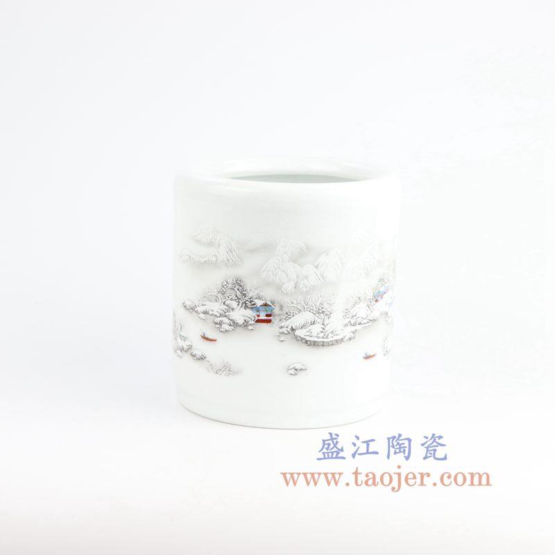 盛江陶瓷 纯手工粉彩山水 雪景 笔筒 文房四宝 大号