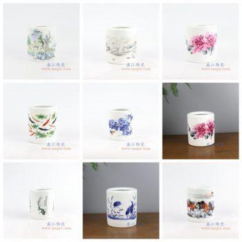 RZNZ02-景德镇陶瓷 纯手工粉彩山水 笔筒 文房四宝 小号