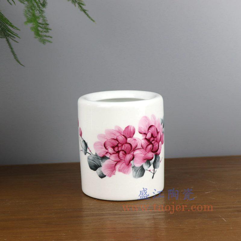 盛江陶瓷 纯手工粉彩山水 笔筒 文房四宝 小号