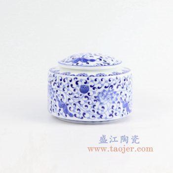 CBAD11-景德镇陶瓷 纯手绘青花缠枝茶叶罐 密封罐
