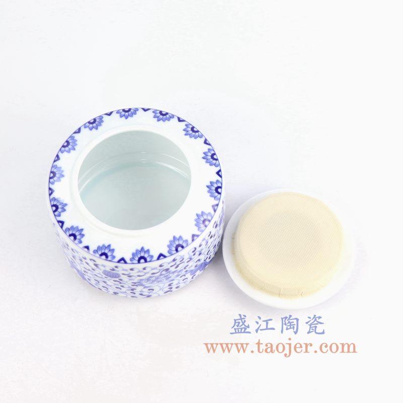 盛江陶瓷 纯手绘青花缠枝茶叶罐 密封罐
