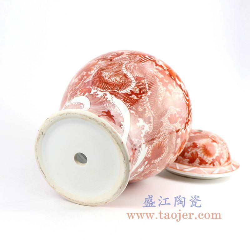 盛江陶瓷 纯手工手绘矾红龙纹陶瓷将军罐台灯