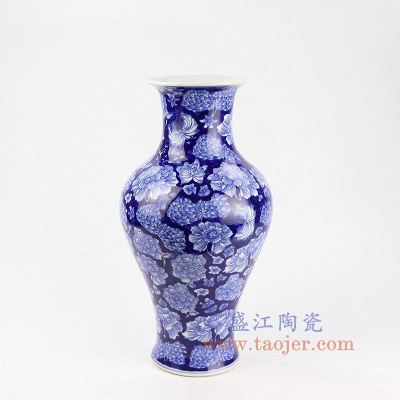 盛江陶瓷 纯手工 蓝底 青花 鱼尾瓶
