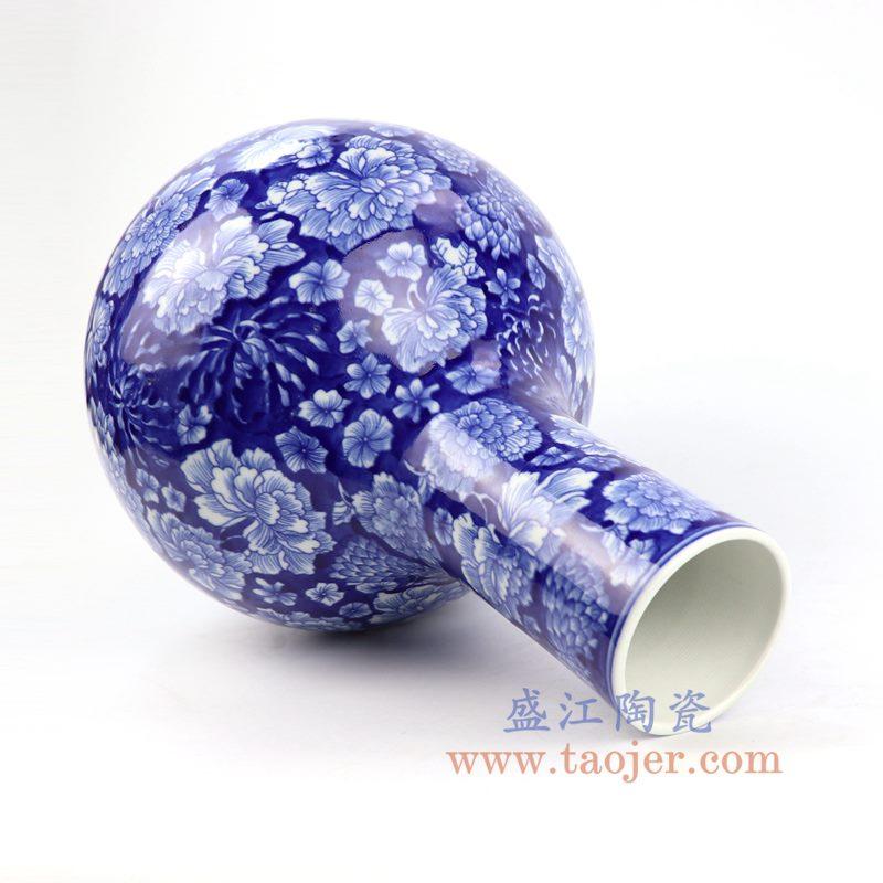 盛江陶瓷 纯手工 蓝底 青花 天球瓶